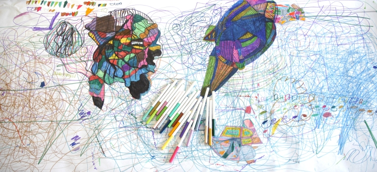 large scribble with pens